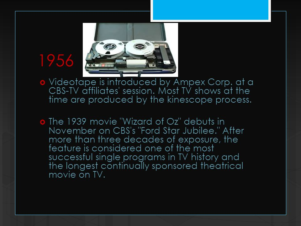 1956  Videotape is introduced by Ampex Corp. at a CBS-TV affiliates session.