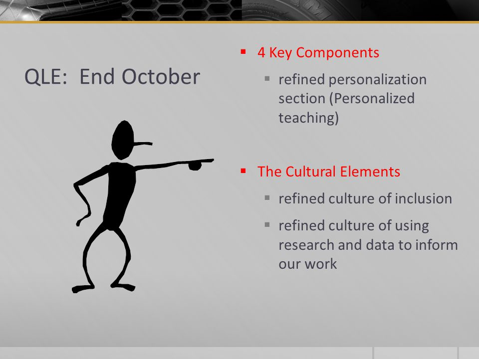 QLE: End October  4 Key Components  refined personalization section (Personalized teaching)  The Cultural Elements  refined culture of inclusion  refined culture of using research and data to inform our work
