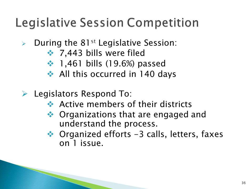  During the 81 st Legislative Session:  7,443 bills were filed  1,461 bills (19.6%) passed  All this occurred in 140 days  Legislators Respond To:  Active members of their districts  Organizations that are engaged and understand the process.