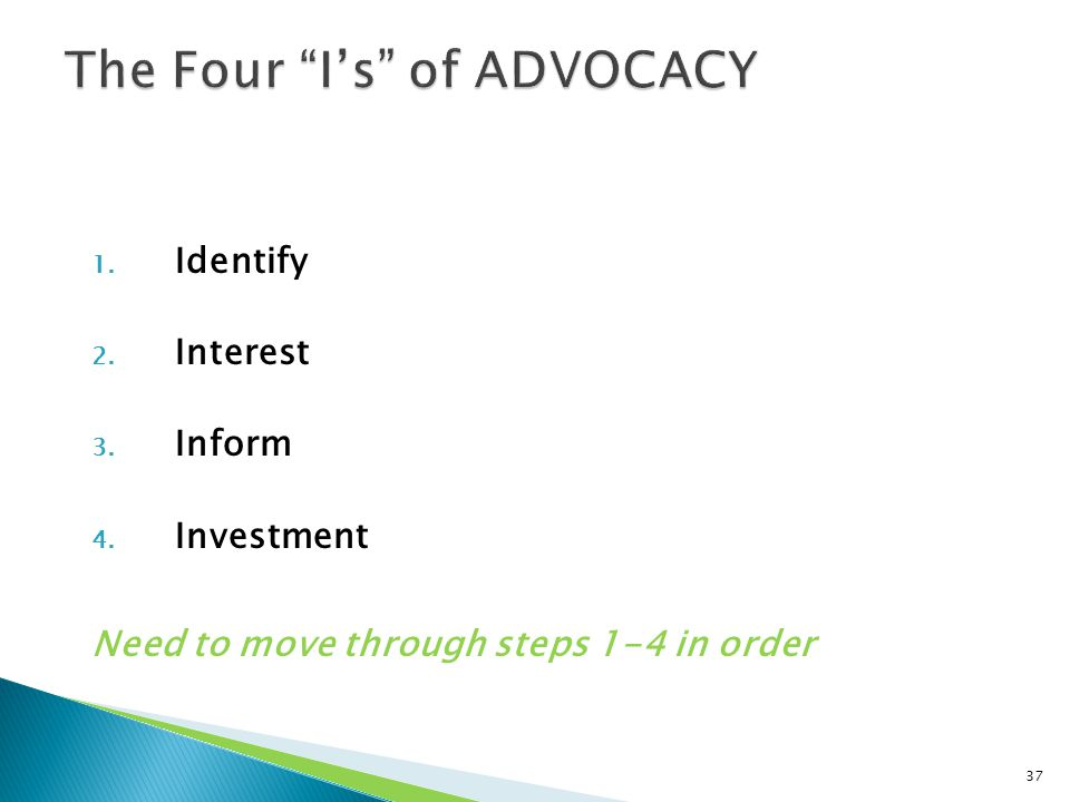 1. Identify 2. Interest 3. Inform 4. Investment Need to move through steps 1-4 in order 37