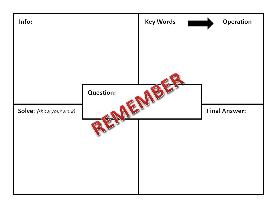 Question: Info:Key WordsOperation Solve: (show your work) Final Answer: 2