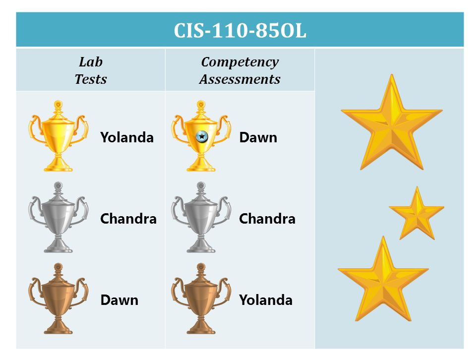 CIS-110-85OL Lab Tests Competency Assessments Yolanda Chandra Dawn Chandra Yolanda