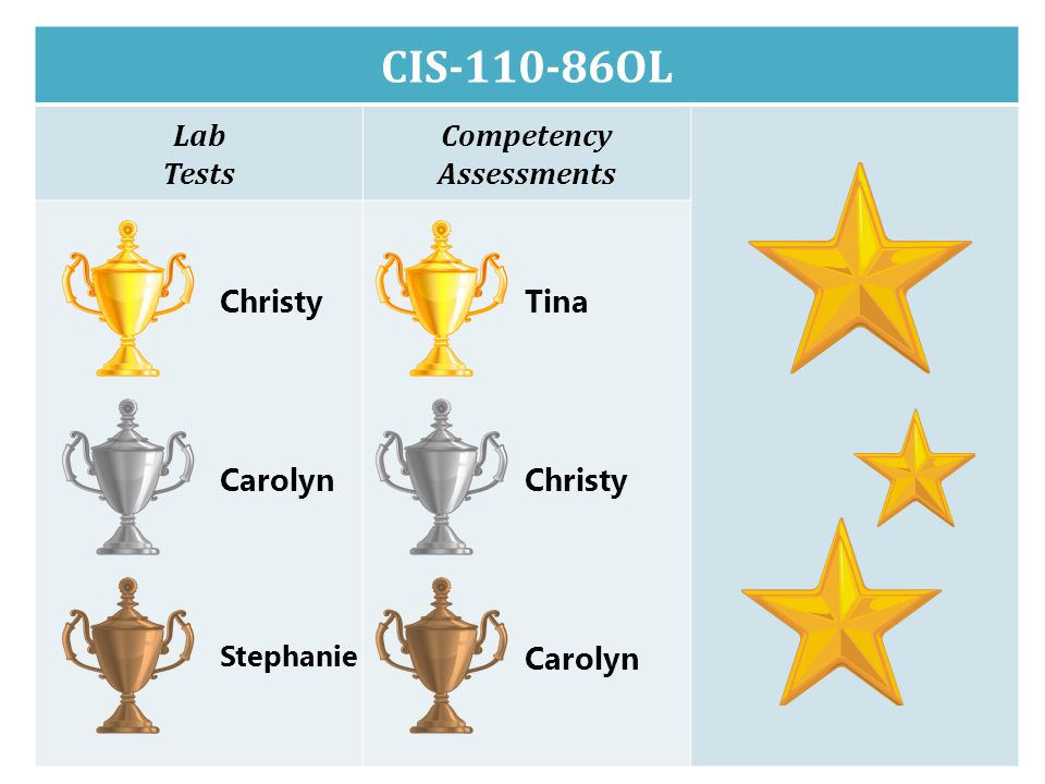 CIS-110-86OL Lab Tests Competency Assessments Christy Carolyn Stephanie Tina Christy Carolyn