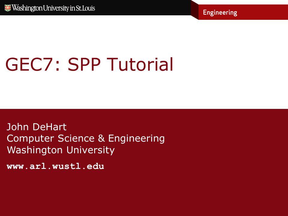 User: gec12 SPP Host: spphost6.arl.wustl.edu SPP Host login id: gec12 SPP Host password: GEC7User12 SPP: sppsalt1.arl.wustl.edu (64.57.23.210) (SALT) Slice: wupl_GEC7_12 Private Key: ~/.ssh/gec12_id_rsa Passphrase: GEC7 User 12 »1 space after each of GEC7 and User To ssh into your slice: »ssh –i ~/.ssh/gec12_id_rsa wupl_GEC7_12@sppsalt1.arl.wustl.edu Neighbor User: gec11