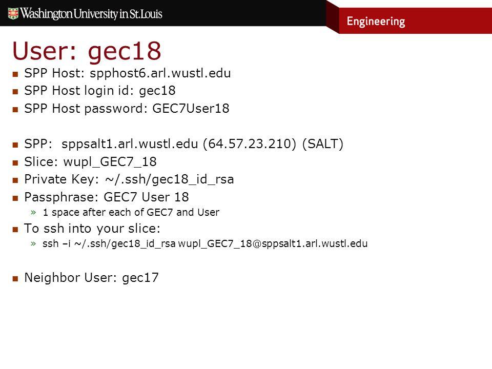 User: gec18 SPP Host: spphost6.arl.wustl.edu SPP Host login id: gec18 SPP Host password: GEC7User18 SPP: sppsalt1.arl.wustl.edu (64.57.23.210) (SALT) Slice: wupl_GEC7_18 Private Key: ~/.ssh/gec18_id_rsa Passphrase: GEC7 User 18 »1 space after each of GEC7 and User To ssh into your slice: »ssh –i ~/.ssh/gec18_id_rsa wupl_GEC7_18@sppsalt1.arl.wustl.edu Neighbor User: gec17