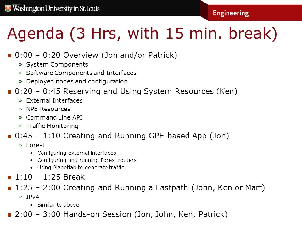 Agenda (3 Hrs, with 15 min.