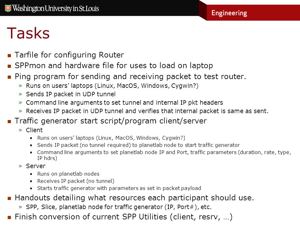 Tasks Tarfile for configuring Router SPPmon and hardware file for uses to load on laptop Ping program for sending and receiving packet to test router.