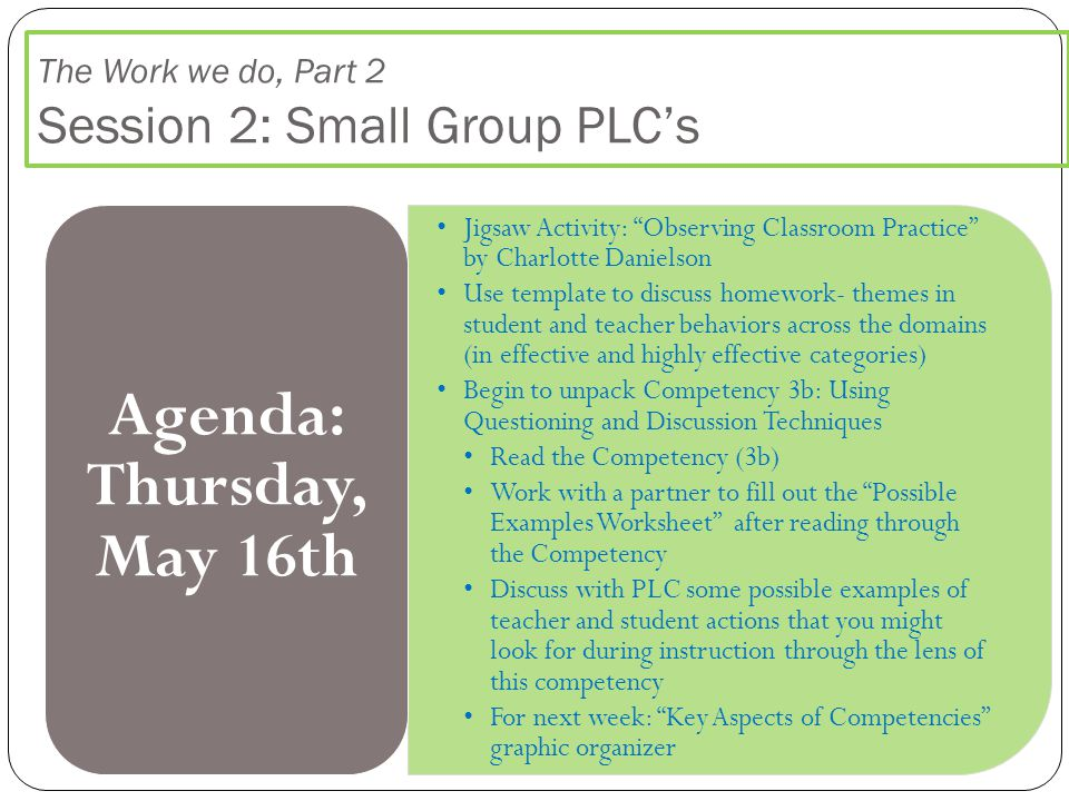 """The Work we do, Part 2 Session 2: Small Group PLC's Jigsaw Activity: """"Observing Classroom Practice"""" by Charlotte Danielson Use template to discuss hom"""