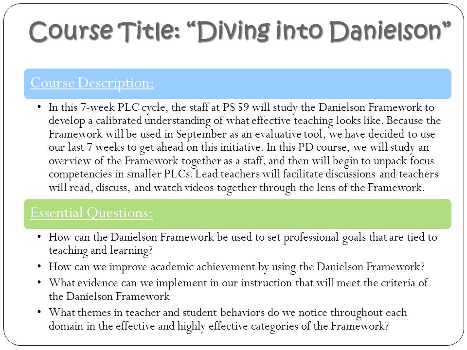 """Course Title: """"Diving into Danielson"""" Course Description: In this 7-week PLC cycle, the staff at PS 59 will study the Danielson Framework to develop a"""