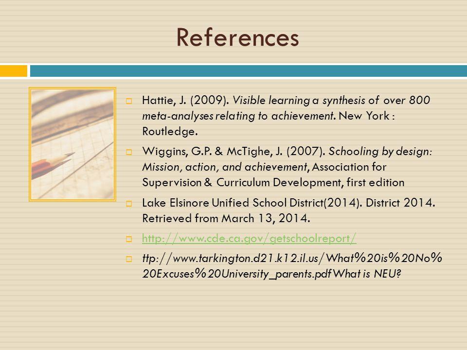 References  Hattie, J. (2009).