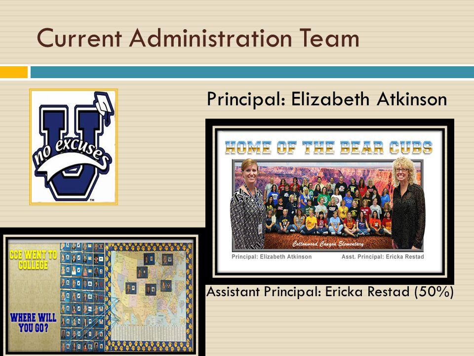 Current Administration Team Principal: Elizabeth Atkinson Assistant Principal: Ericka Restad (50%)