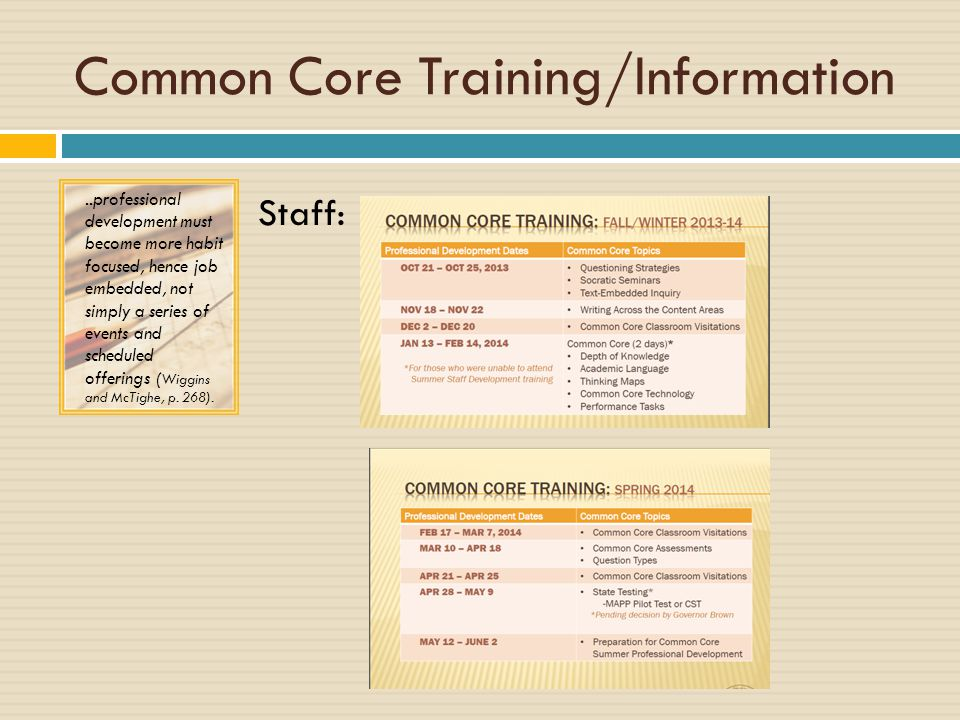 Common Core Training/Information Staff:..professional development must become more habit focused, hence job embedded, not simply a series of events and scheduled offerings ( Wiggins and McTighe, p.