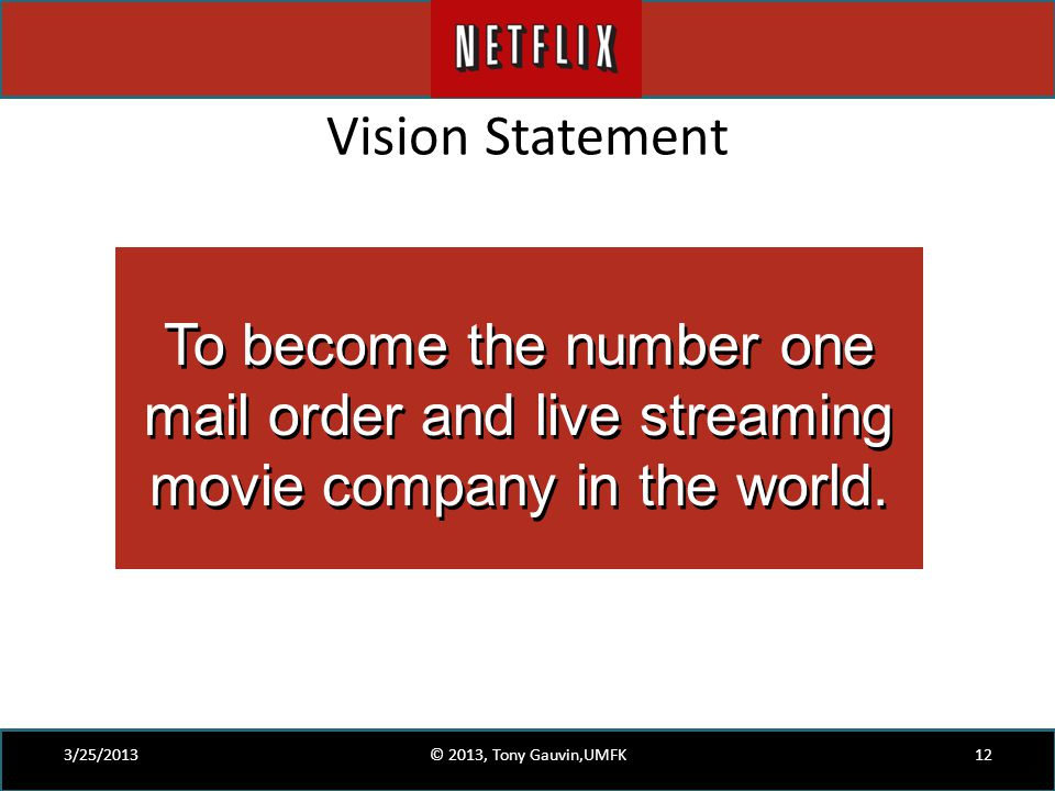 Vision Statement 3/25/2013© 2013, Tony Gauvin,UMFK12 To become the number one mail order and live streaming movie company in the world.