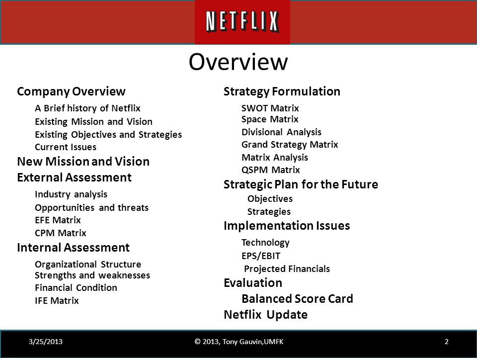 Overview 3/25/20132© 2013, Tony Gauvin,UMFK Company Overview A Brief history of Netflix Existing Mission and Vision Existing Objectives and Strategies