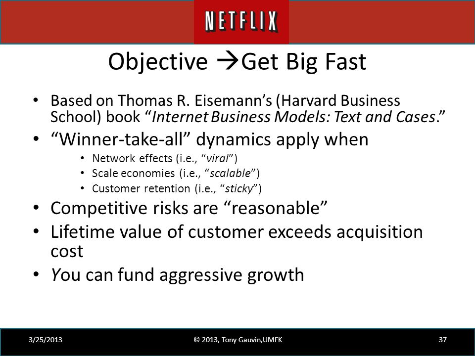 "Objective  Get Big Fast Based on Thomas R. Eisemann's (Harvard Business School) book ""Internet Business Models: Text and Cases."" ""Winner-take-all"" dy"