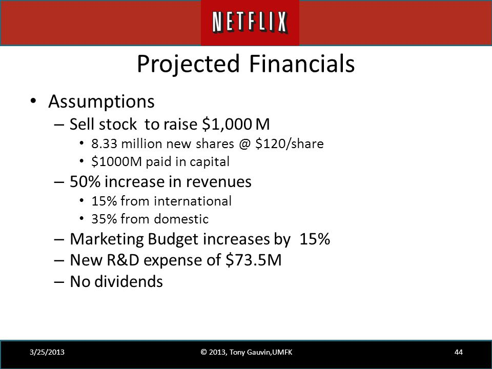 Projected Financials Assumptions – Sell stock to raise $1,000 M 8.33 million new shares @ $120/share $1000M paid in capital – 50% increase in revenues