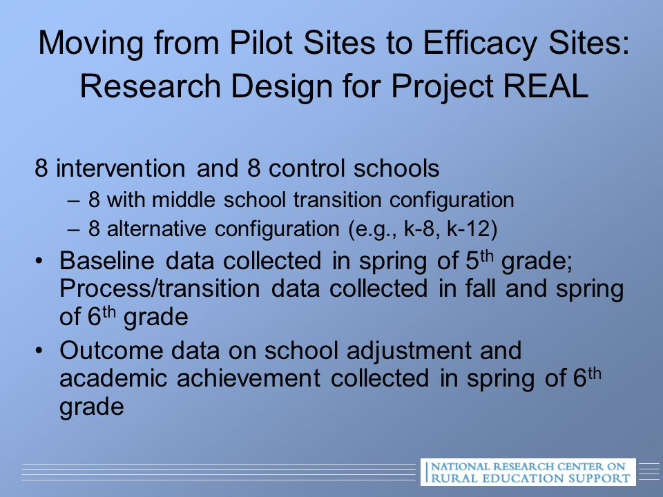 Moving from Pilot Sites to Efficacy Sites: Research Design for Project REAL 8 intervention and 8 control schools –8 with middle school transition configuration –8 alternative configuration (e.g., k-8, k-12) Baseline data collected in spring of 5 th grade; Process/transition data collected in fall and spring of 6 th grade Outcome data on school adjustment and academic achievement collected in spring of 6 th grade