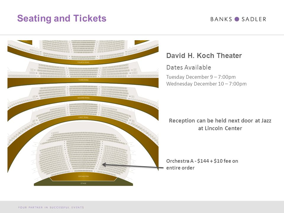 Seating and Tickets Orchestra A - $144 + $10 fee on entire order David H.