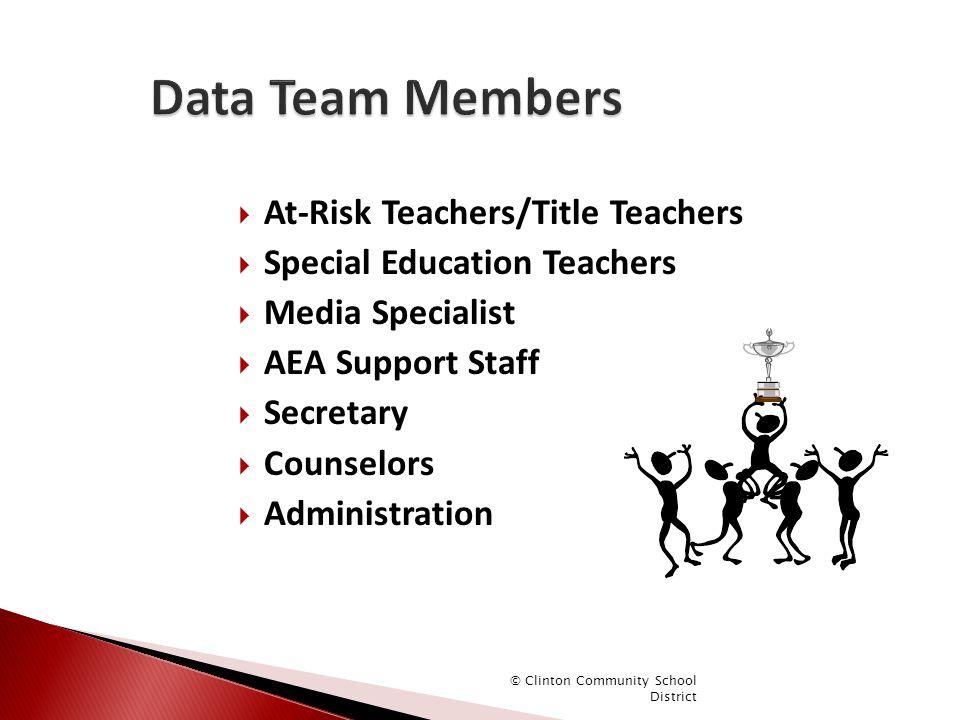  At-Risk Teachers/Title Teachers  Special Education Teachers  Media Specialist  AEA Support Staff  Secretary  Counselors  Administration © Clin