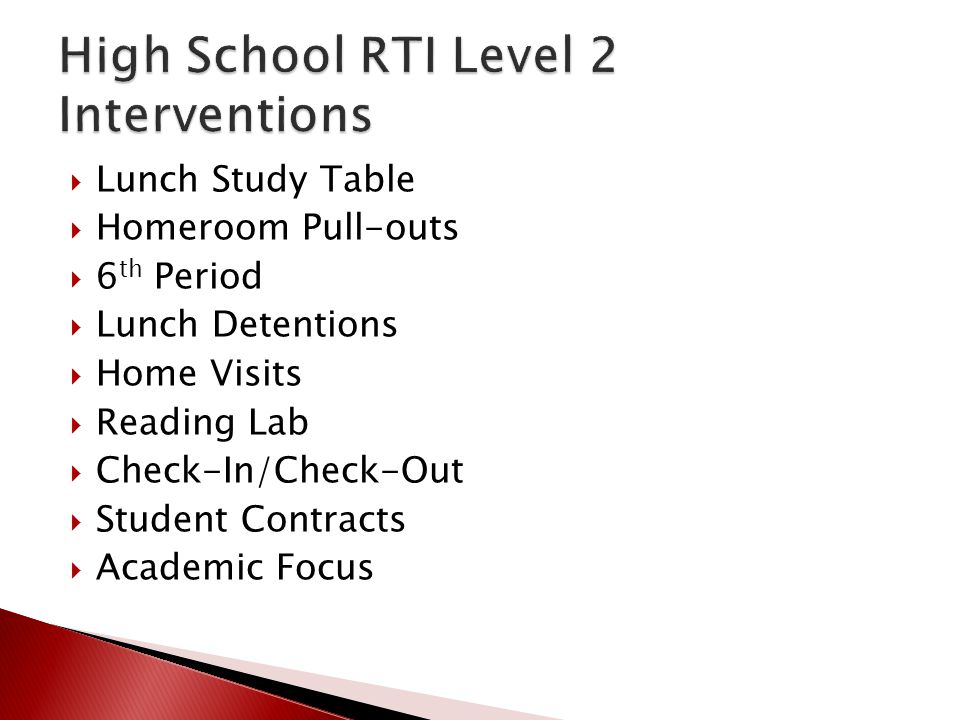  Lunch Study Table  Homeroom Pull-outs  6 th Period  Lunch Detentions  Home Visits  Reading Lab  Check-In/Check-Out  Student Contracts  Acade