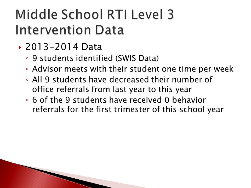  2013-2014 Data ◦ 9 students identified (SWIS Data) ◦ Advisor meets with their student one time per week ◦ All 9 students have decreased their number