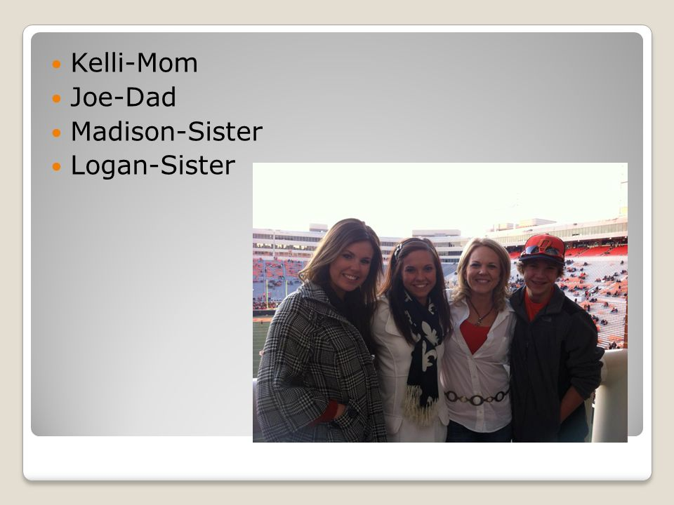 Kelli-Mom Joe-Dad Madison-Sister Logan-Sister