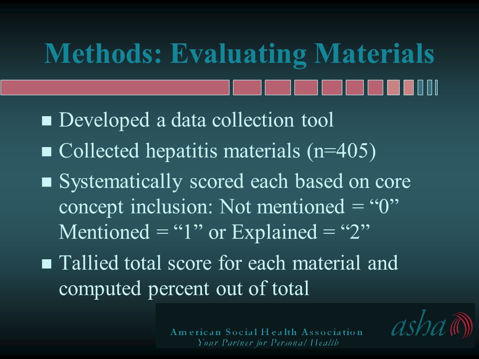 Scoring Educational Materials n For example: –13 core concepts for patients re: HAV –Each educational material scored based on coverage of each of 13 concepts –Percent of core concept coverage calculated = score/26 (score/total score possible) n Range was 0 to 71% coverage