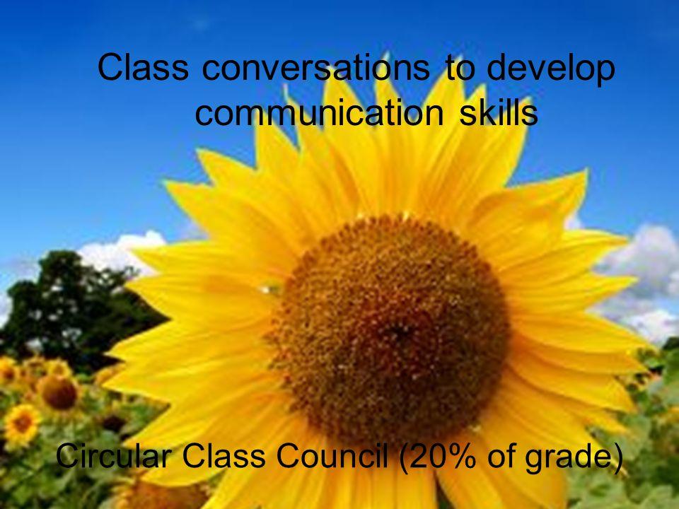 Circular Class Council (20% of grade) Class conversations to develop communication skills