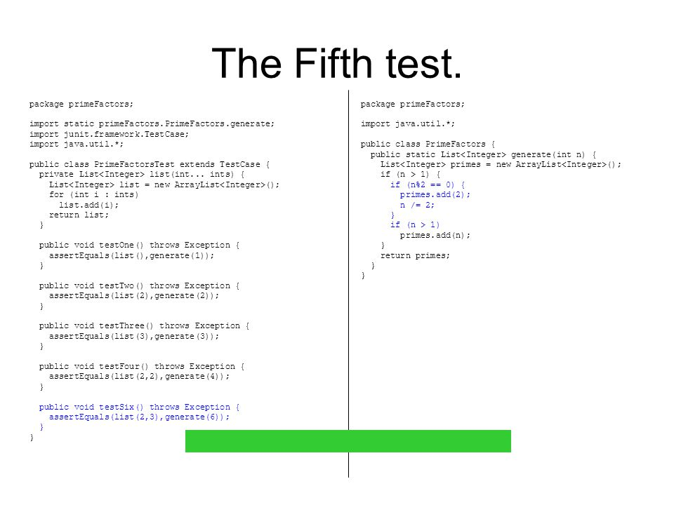 The Fifth test.