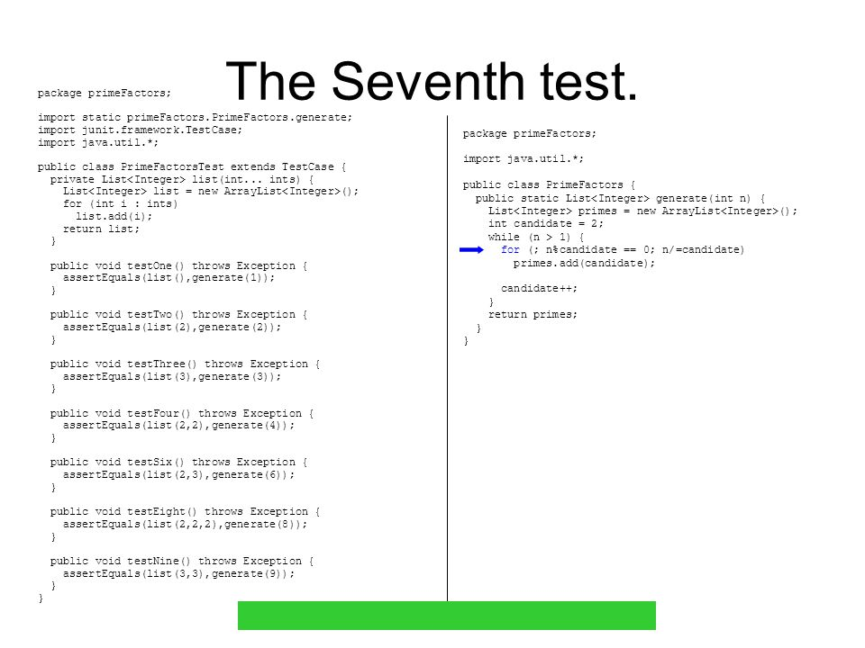 The Seventh test.