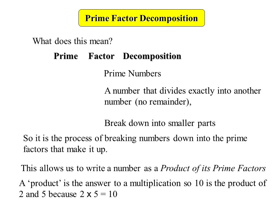 Prime Factor Decomposition Write the number 15 as a product of its prime factors: What are the factors of 15.