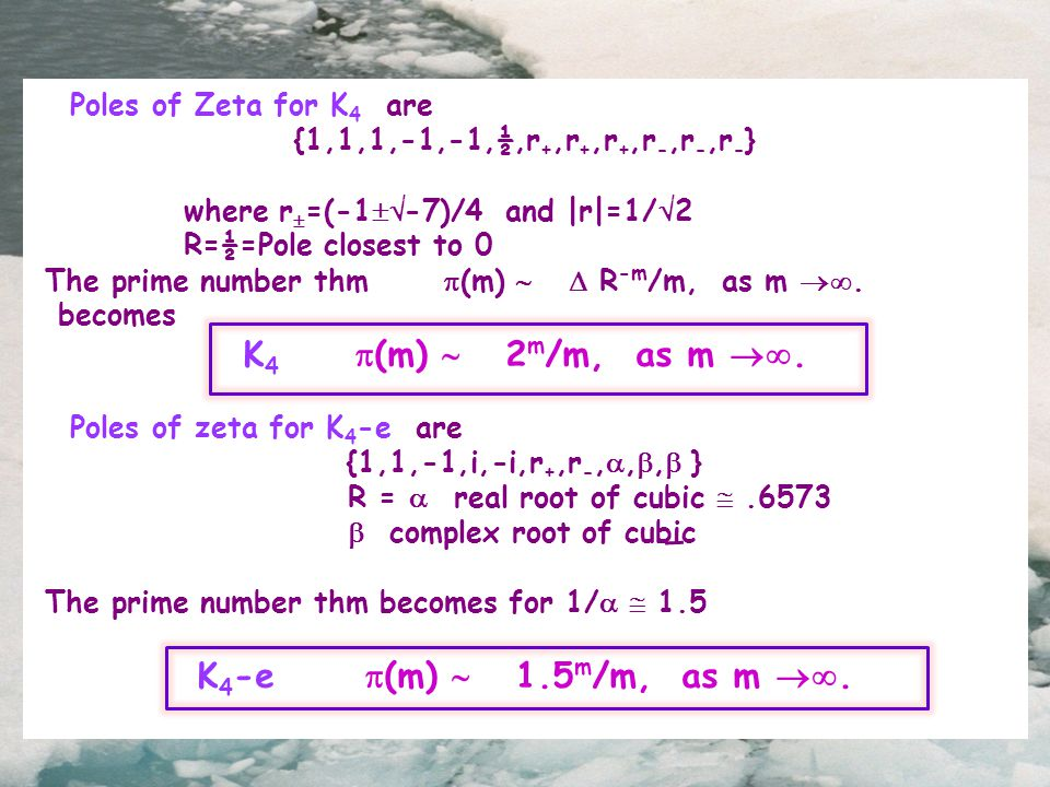 Poles of Zeta for K 4 are {1,1,1,-1,-1,½,r +,r +,r +,r -,r -,r - } where r  =(-1  -7)/4 and |r|=1/  2 R=½=Pole closest to 0 The prime number thm  (m)   R -m /m, as m .