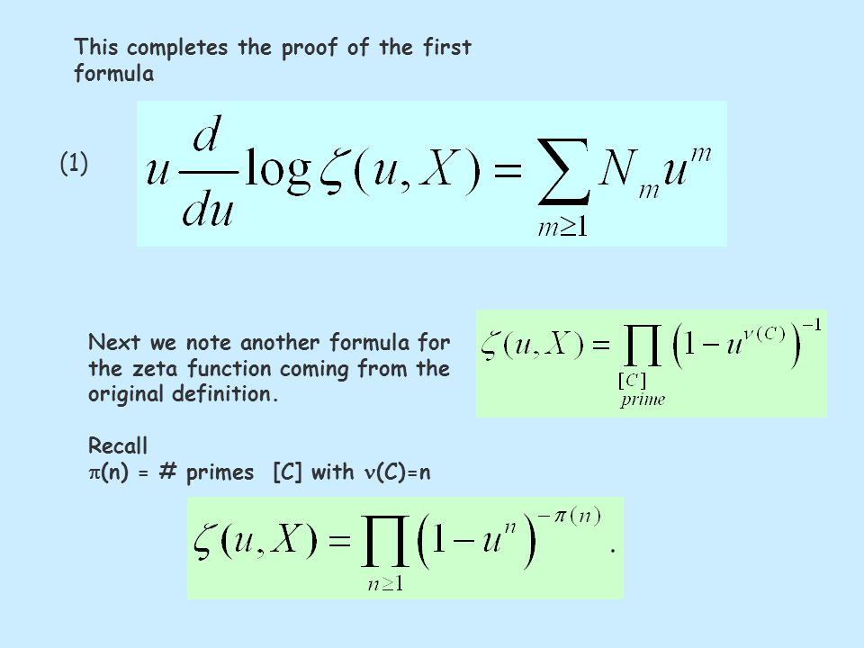 Next we note another formula for the zeta function coming from the original definition.