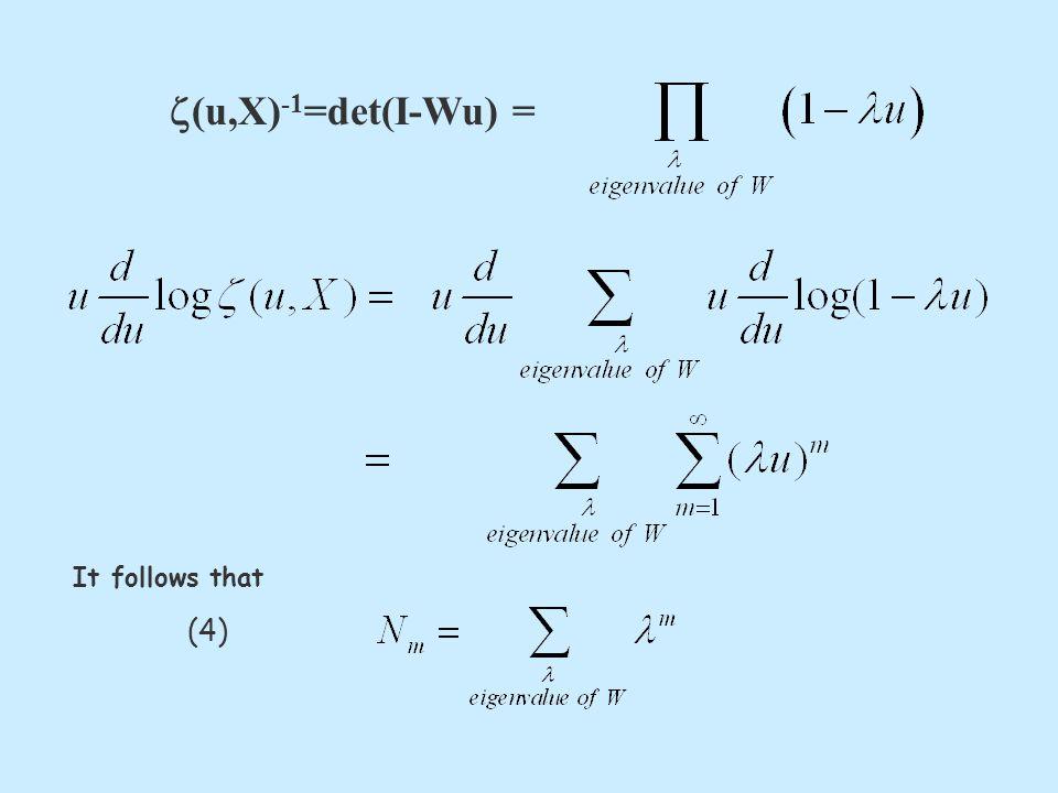  (u,X) -1 =det(I-Wu) = It follows that (4)