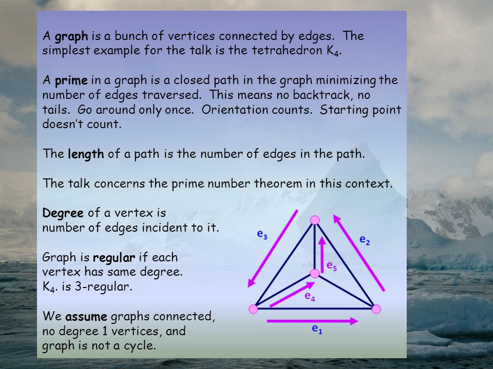 A graph is a bunch of vertices connected by edges. The simplest example for the talk is the tetrahedron K 4. A prime in a graph is a closed path in th