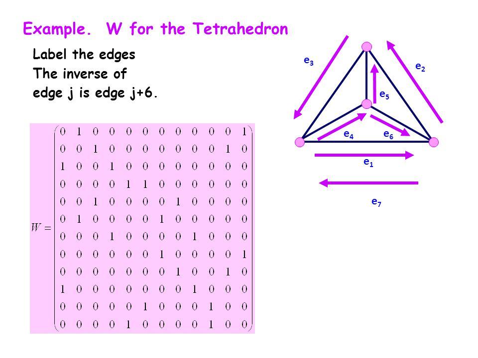 Example. W for the Tetrahedron Label the edges The inverse of edge j is edge j+6. e1e1 e3e3 e2e2 e4e4 e5e5 e6e6 e7e7
