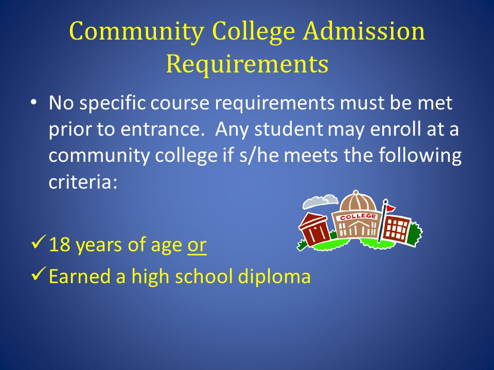 Community College Admission Requirements No specific course requirements must be met prior to entrance. Any student may enroll at a community college