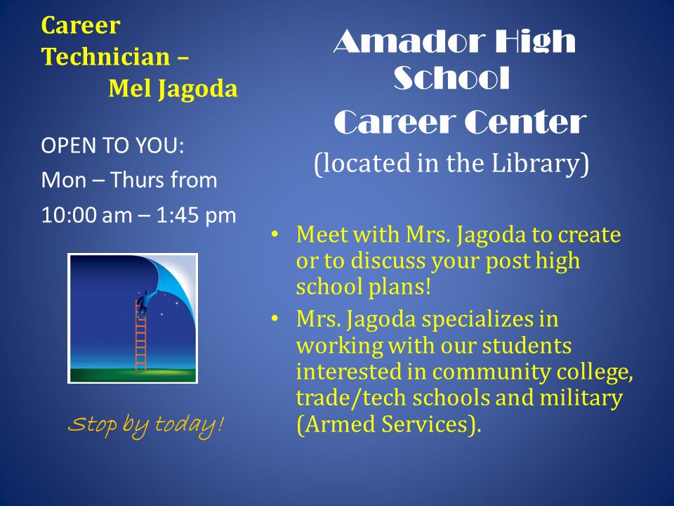 Career Technician – Mel Jagoda Amador High School Career Center (located in the Library) Meet with Mrs. Jagoda to create or to discuss your post high
