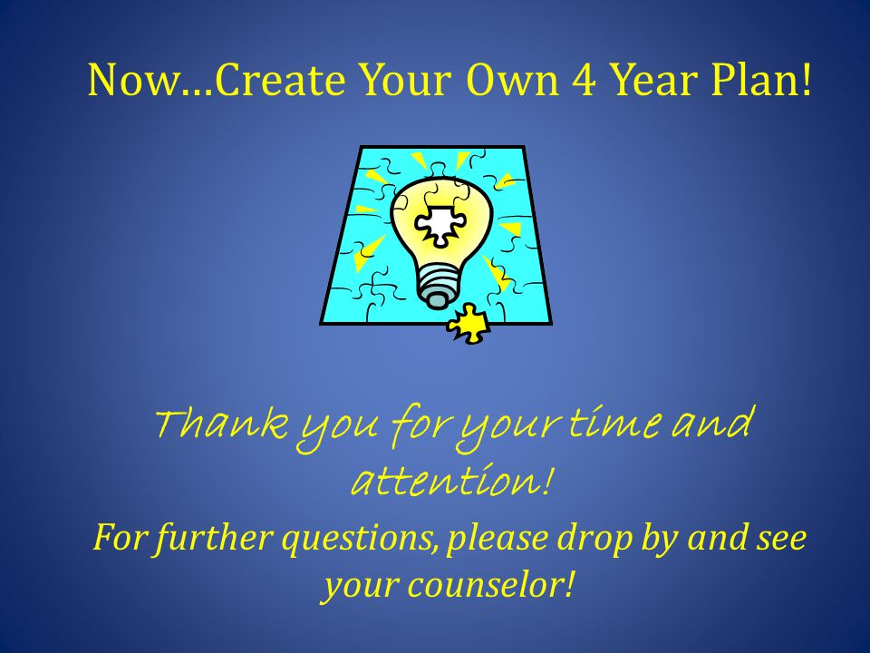 Now…Create Your Own 4 Year Plan! Thank you for your time and attention! For further questions, please drop by and see your counselor!