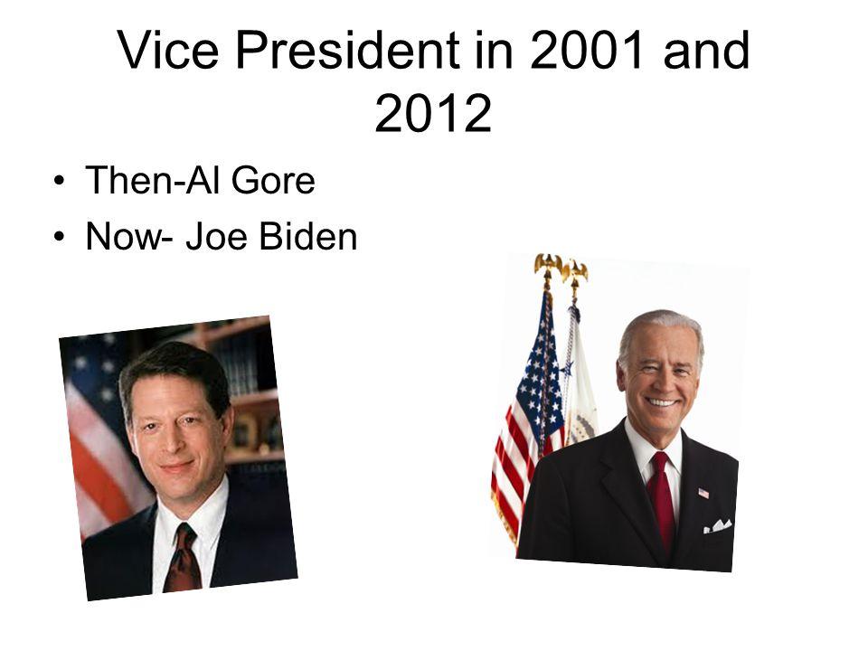 Vice President in 2001 and 2012 Then-Al Gore Now- Joe Biden