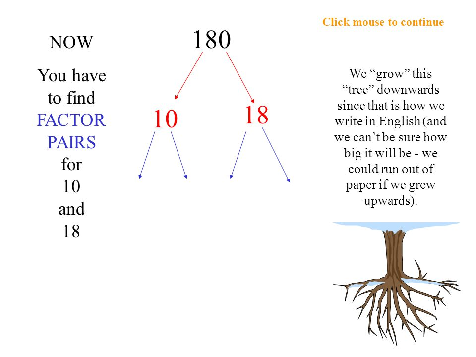 Click mouse to continue 10 5 2 180 18 6 3 2 x 5 = 10 6 x 3 = 18 Find factors for 10 & 18