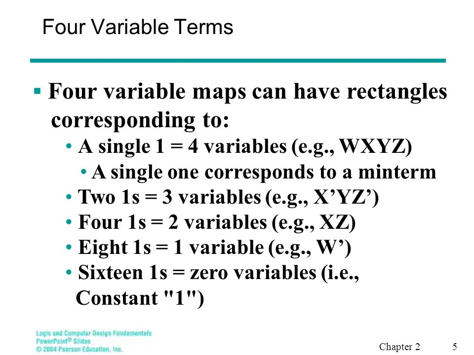 Chapter 2 5 Four Variable Terms  Four variable maps can have rectangles corresponding to: A single 1 = 4 variables (e.g., WXYZ) A single one correspo