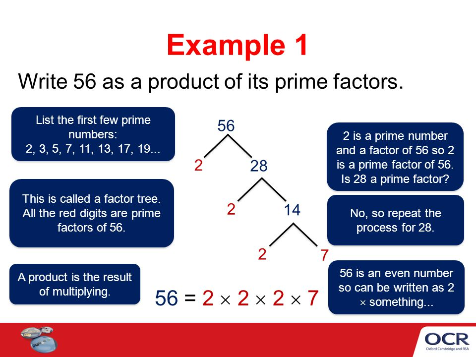 List the first few prime numbers: Write 90 as a product of its prime factors.