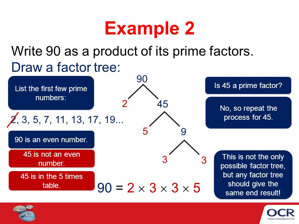 List the first few prime numbers: Write 90 as a product of its prime factors. Draw a factor tree: Example 2 90 2 45 5 9 3 3 90 = 2  3  3  5 90 is a