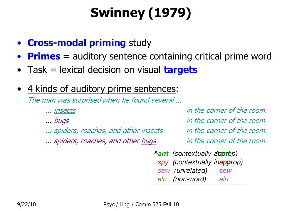 9/22/10Psyc / Ling / Comm 525 Fall 10 Swinney (1979) Cross-modal priming study Primes = auditory sentence containing critical prime word Task = lexica