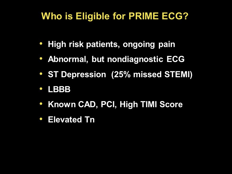Who is Eligible for PRIME ECG.