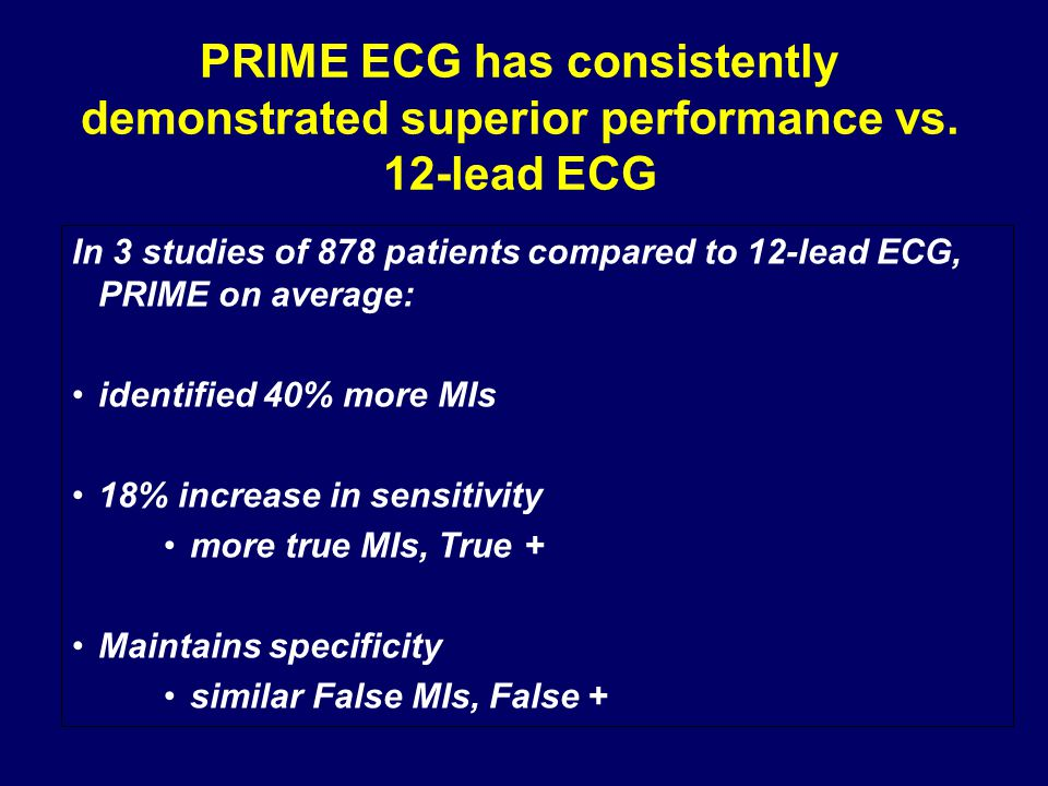 PRIME ECG has consistently demonstrated superior performance vs.