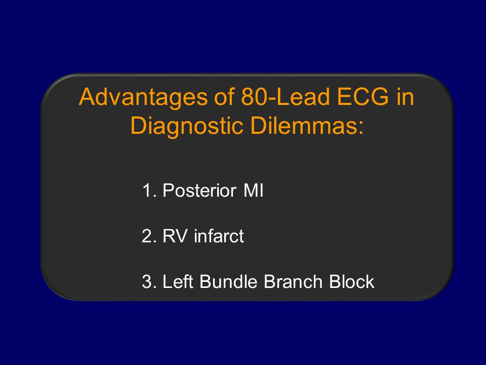 Advantages of 80-Lead ECG in Diagnostic Dilemmas: 1.