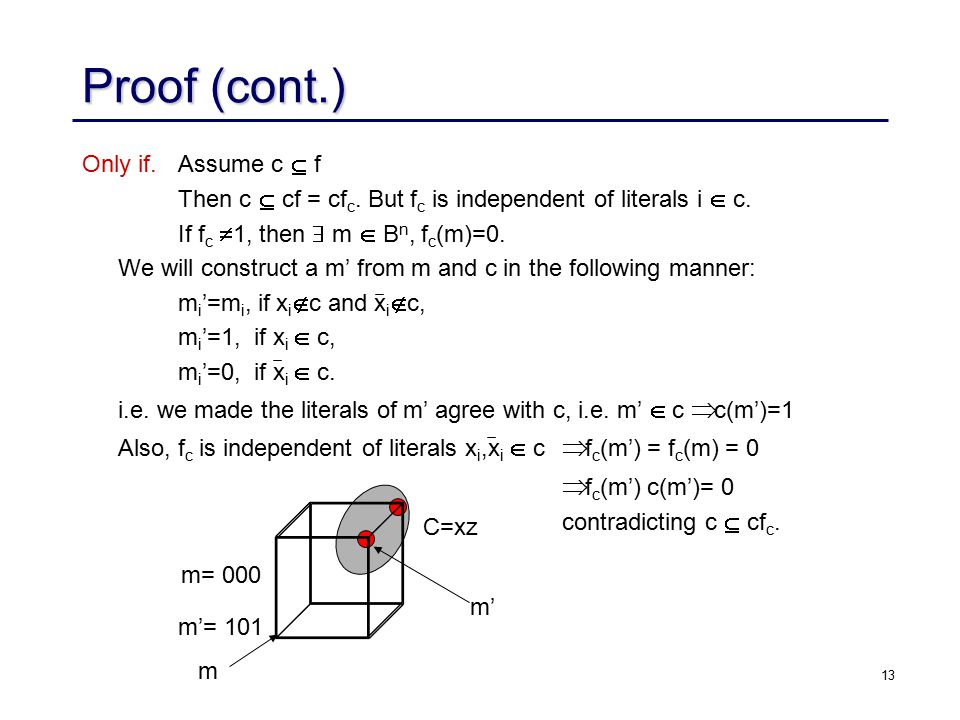 13 Proof (cont.) Only if. Assume c  f Then c  cf = cf c.