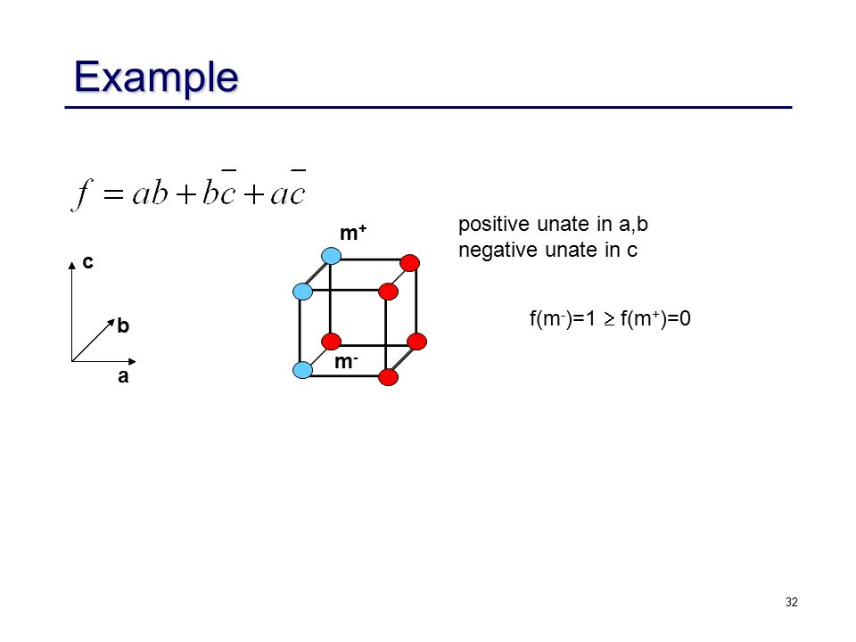 32 c b a m+m+ m-m- f(m - )=1  f(m + )=0 positive unate in a,b negative unate in c Example
